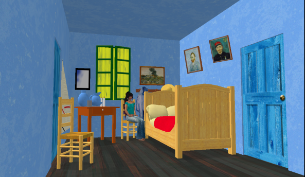 Sitting in Van Gough's room.  The builder created an elongated room to ensure visitors had a correct view.