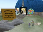 Paul Skohegan and a student welcome my avatar to their virtual environment. on Reaction Grid