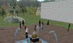 Ed Dianthus takes a group of Virtual Pioneers on a tour of the Rosewood build in Second Life.  The avatars are gathered in the area of the memorial to former Rosewood residents.