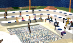 Educators attend a presentation at the Seminole County, Florida Sim on Second LIfe.
