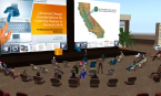 educators attend a conference presentation in an immersive environment, via avatar representations.