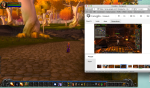 The Google Hangout screen on the right includes the screens of of 9 colleagues, each of which can be viewed with a click.  The screen on the left shows me in a game moving about and getting instructions from more experienced participants.