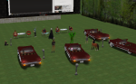 Avatars pull their Pixel cars into the SIGVE Drive In Movie to watch machinima submitted by students and teachers in the 2012 EDuMachinima Fest.