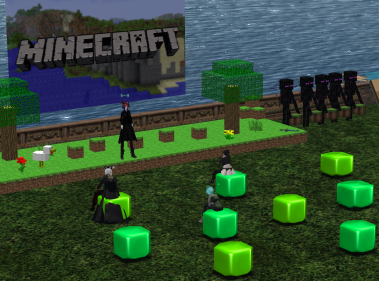 The stage is set at VSTE in Second LIfe for the Minecraft and More discussion on Monday night